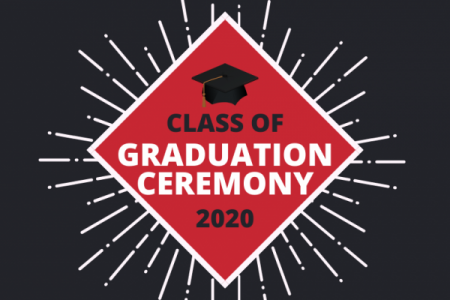 CLASS OF 2020 GRADUATION CEREMONY GRAPHIC IN RED AND BLACK